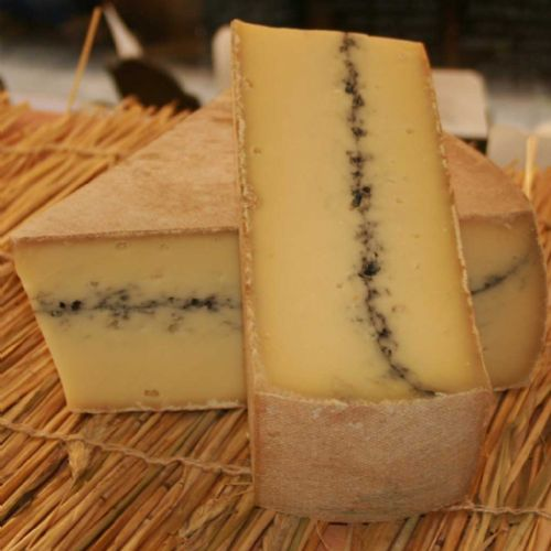 Morbier Cheese, Traditional semi soft french cheese with a layer of ash